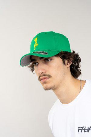 """כובע """"GIRL POWER"""" בירוק-צהוב OVERSIZED"""
